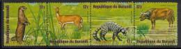 Burundi Used Scott #C220 Strip Of 4 17fr African Small-clawed Otter, Reed Buck, Indian Civet, Cape Buffalo - Wildlife - Burundi