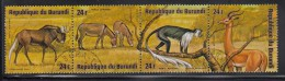 Burundi Used Scott #C221 Strip Of 4 24fr White-tailed Gnu, African Wild Asses, Black-and-white Colobus Monkey, Gerenuk - Burundi