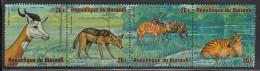 Burundi Used Scott #C222 Strip Of 4 26fr Dama Gazelle, Black-backed Jackal, Sitatungas, Zebra Antelope - Wildlife - Burundi