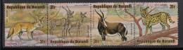 Burundi Used Scott #C223 Strip Of 4 31fr Fennec, Lesser Kudus, Blesbok, Serval - Wildlife - Burundi