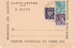 CARTE LETTRE N� 32161 JOURNEE NATIONALE DU TIMBRE 1943 PARTHENAY        TDA29