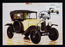 OEIRAS Citroen Torpedo 5HR Old Automobiles Museum Portugal Transports TRIPLE Carte Postale Maximum Card Mc045 - Cars