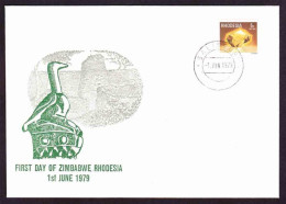 Rhodesia - 1979 - Zimbabwe Ruins, Minerals - On First Day Of Zimbabwe Cover - Rhodésie (1964-1980)
