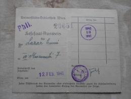 Universitäts Bibliothek WIEN - Library - 1940  Nazi Handstamp Lazar Emmi  Entry Document   PR114.14 - Marque-Pages