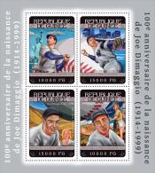 gu14303a Guinea 2014 Sport Baseball Joe DiMaggio and Marilyn Monroe s/s Statue of Liberty