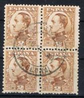 Bloques 4 Sellos 2 Cts Alfonso XIII Vaquer, Fechador Estacion M.Z.A.  BARCELONA,  Num 490a º - Usados