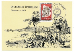 Carte locale - Journ�e du Timbre 1974 - MENTON (06) - Timbre Tri automatis�