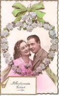 """COUPLE """"AFFECTIONATE KISSES """",COULEUR,FLEURS REF 41158 - Couples"""
