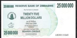 ZIMBABWE  P56   25.000.000   DOLLARS   2008   UNC - Zimbabwe