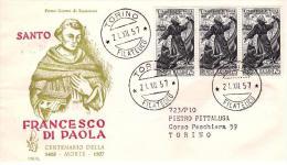 Fdc Venetia N. 136: FRANCESCO DI PAOLA (1957) Raccomandata; AF_Torino - 6. 1946-.. Repubblica
