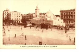 CPA - ALGER - 2 - PLACE DU GOUVERNEMENT ET PALAIS CONSULAIRE - A. F. - Algiers
