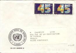 Lettre Du 11/12/1990 Avec Deux Timbres 45ème Anniversaire De L'onu - Office De Genève