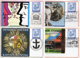 Maximum-Karte 1983 Österreich 1649 Freistadt 4 Karten O 15€ SST Kreuz Sprache Nobel-Preis Physik Trains Cards Of Austria - Cartes Postales