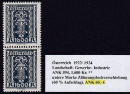 Österreich 1922, ANK 394, Zähnungslochverschiebung ** Postfrisch - 1918-1945 1. Republik
