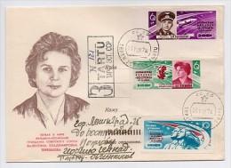 MAIL Post Cover Used USSR RUSSIA Set Stamp Not Dent Space Sputnik Rocket Cosmonaut Woman TERESHKOVA - 1923-1991 USSR