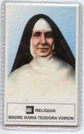 Santino Plastificato MADRE MARIA TEODORA VOIRON Con RELIQUIA (tessuto) - PERFETTO H46 - Religion & Esotérisme