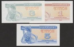 UKRAINE LOT 1-3-5  Karbovantsiv  1991   UNC - Ukraine