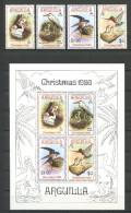 ANGUILLA 1980 N° 365/368 Bloc 34 ** Neufs = MNH Superbes Cote 20,50 € Faune Oiseaux Birds Fauna Animaux - Anguilla (1968-...)