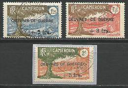 CAMEROUN SURCHARGE OEUVRES DE GUERRE N� 233/ 235 OBL TTB