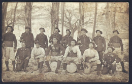 Rare Carte Photo Prise à Jausiers (04) Fanfare Du 157ème Régiment D'infanterie Et 30ème Bataillon Guerre De 14. - France