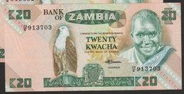 ZAMBIA 20 Kwacha (1980-88)  SERIAL# 46E  P# 27e   UNC - Zambia