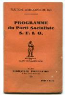 Front Populaire Programme Du Parti Socialiste S.F.I.O. 1936 - 1901-1940