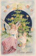 CARD BUON NATALE ANGELO BIMBO  ALBERO DI NATALE CON CANDELINE ACCESE PUTTI  -FP-V-2-0882-22434 - Nieuwjaar