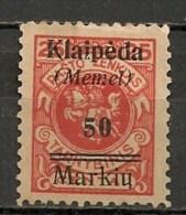 Timbres - Allemagne - Etranger - Memel - 50 Mark  -