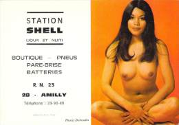 CALENDRIER STATION SHELL AMILLY / ANNEE 1974 / FEMME TYPE ASIATIQUE NUE - Calendriers