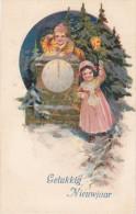 CARD   BUON ANNO IN RILIEVO BIMBI FESTOSI OROLOGIO    -FP-V-2-0882-22456 - Nieuwjaar