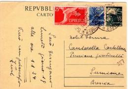 ITALIA  Intero Postale Republica Democratica Stampa Lire 15 + 15 + 25 Espresso Amb. 17 - 9 - 1949 - Zonder Classificatie