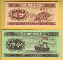 CHINE - Lot De 2 Billets De 1 Et 5 Fen. 1953. Pick: 860b Et 862b. NEUF - China