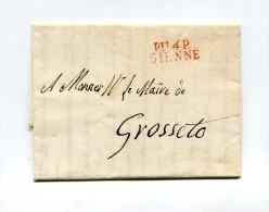 !!! DEPARTEMENT CONQUIS, 114 OMBRONE, MARQUE POSTALE PORT PAYE DE SIENNE DE 1812 - Marcophilie (Lettres)