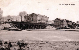 RUSSLAND, An Der Turga Im Winter, Flusspartie, Brücke, Karte Als Feldpost Gel.1917, Klebestellen Auf Rückseite - Russland