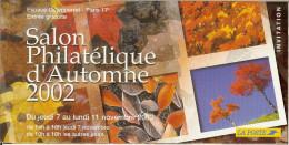 Invitation La Poste Au Salon Philatélique D'automne 2002 + PAP Et Timbres En Rapport - Bloc Rome Entreprise Voeux - Documentos Del Correo