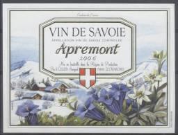 THEME FLEUR étiquette De Vin SAVOIE APREMONT 2006 EDELWEISS GENTIANE - Edelweiss