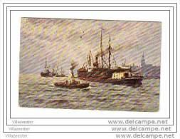Schepen Voor De Haven Mooie Aquarel Naar Zimmerman - Commerce