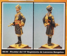 """- F.M.BENEITO - Figurine """" Commandant Du 15° Régiment Bengales """" - 90 Mm- Réf 90/20 - Figurines"""
