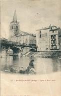 Saint - Girons        ( 09 )       Eglise  Et  Pont  Vieux          ( à Un   Pli ) - Saint Girons