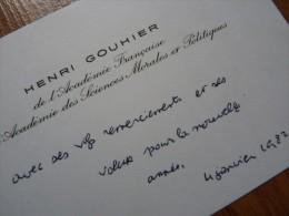 Henri GOUHIER (1898-1994) - Philosophe  Historien - ACADEMIE FRANCAISE - AUTOGRAPHE - Autographes