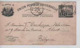 Entier CP PS  Pérou C.Lima En 1908 V.Alost Belgium Arrival Cancellation PE1401 - Pérou