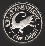 TURKS AND CAICOS 1 CROWN 1988 •  IGUANE  WWF 25th ANNIVERSARY •  ARGENT SILVER  PROOF - Turks And Caicos Islands