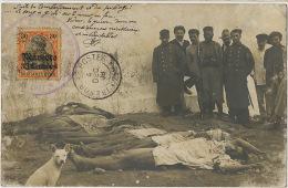 Carte Photo Casablanca Apres Pillage Et Bombardement Cachet Police Sur Timbre Allemand Marocco Tresor Postes  Cadavres - Marokko