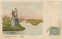 Colon Entrance Canal Statue Of Cristobal Colon With Indian  The Colon Telegram  Cristobal Colon - Colombie