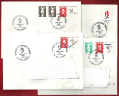 Lot 4 Enveloppes FdC Jeux Olympiques D'hiver 92 JO 1992 Cachets 1er Jour Val D'Isère Les Saisies Meribel Albertville - Winter 1992: Albertville
