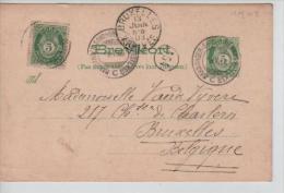 PS Entier PC + TP  En 1903 Norge  V.Bruxeles Belgium PR1416 - Postal Stationery
