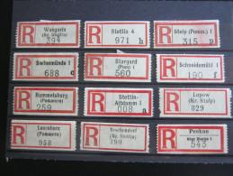 Einschreibzettel  ,12   Stück  Ostpreussen - Pommern