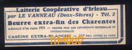 LAITERIE COOPERATIVE   / BEURRE ../ IRLEAU Par LE VANNEAU / DEUX SEVRES   / PUB 1945 - Non Classés