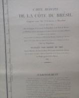 Caerte Marine - Cote Du Bresil Entre L'ile Sta-Catherina Et Maranham - Levée En 1819, Campagne La Bayadere, Brick Le Fav - Cartes Marines