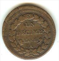 Un Décime - Directoire - L'an 5 - A -  PARIS - Surfrappe De 2 Décimes - 24 Octobre 1796 ( 3 Brumaire An V ) - 1789-1795 Monnaies Constitutionnelles